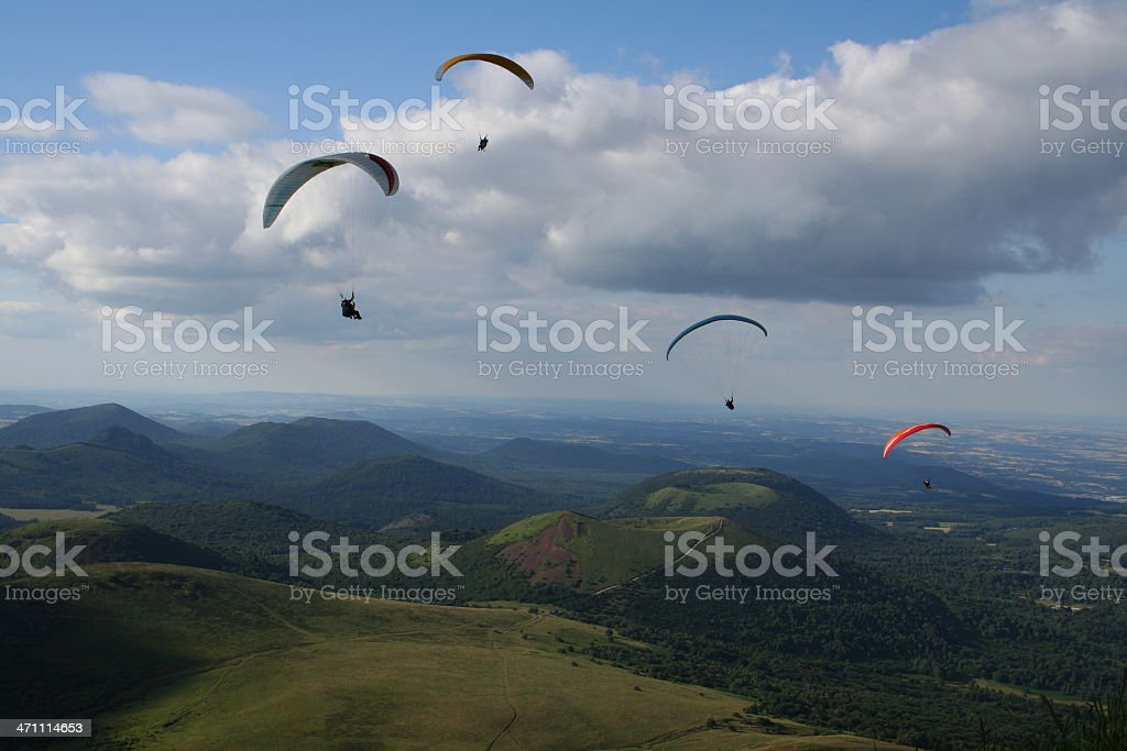 paragliding in Puy de Dôme stock photo