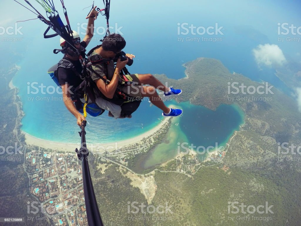 Paragliding on Oludeniz Fethiye stock photo