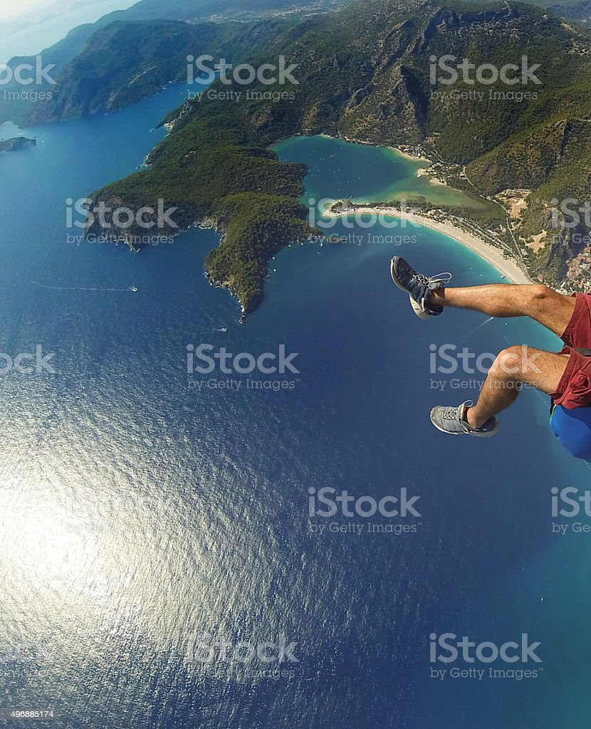 Paragliding Over Oludeniz Blue Lagoon View stock photo