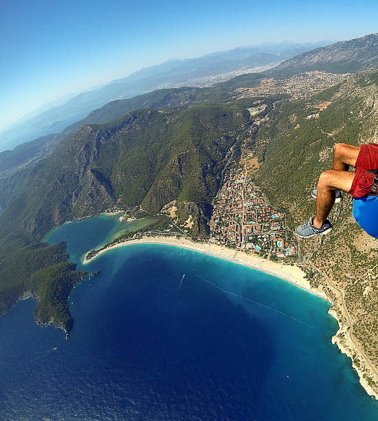 Paragliding Over Oludeniz Parachute stock photo