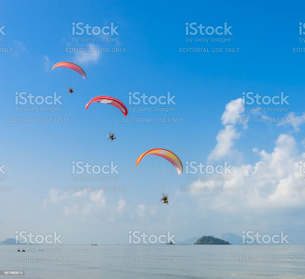 Paragliding over Pak Meng Beach in Trang province, Thailand stock photo
