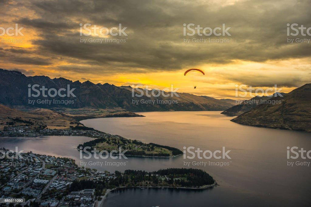 Paragliding over Queenstown and Lake Wakaitipu, New Zealand stock photo