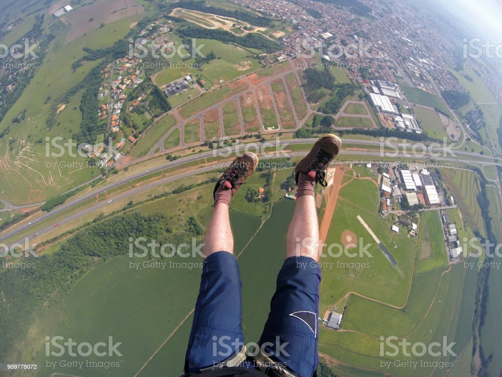 Paragliding point of view stock photo