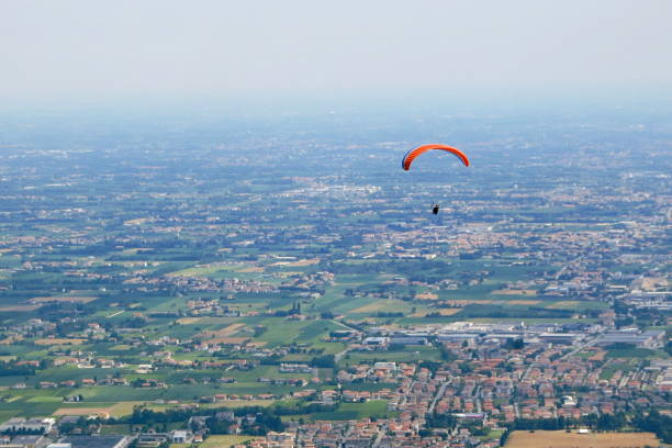 Paragliding south Bassano del Grappa stock photo