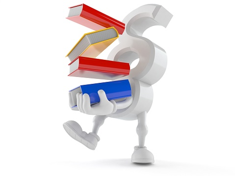 istock Paragraph character carrying books 1077340706