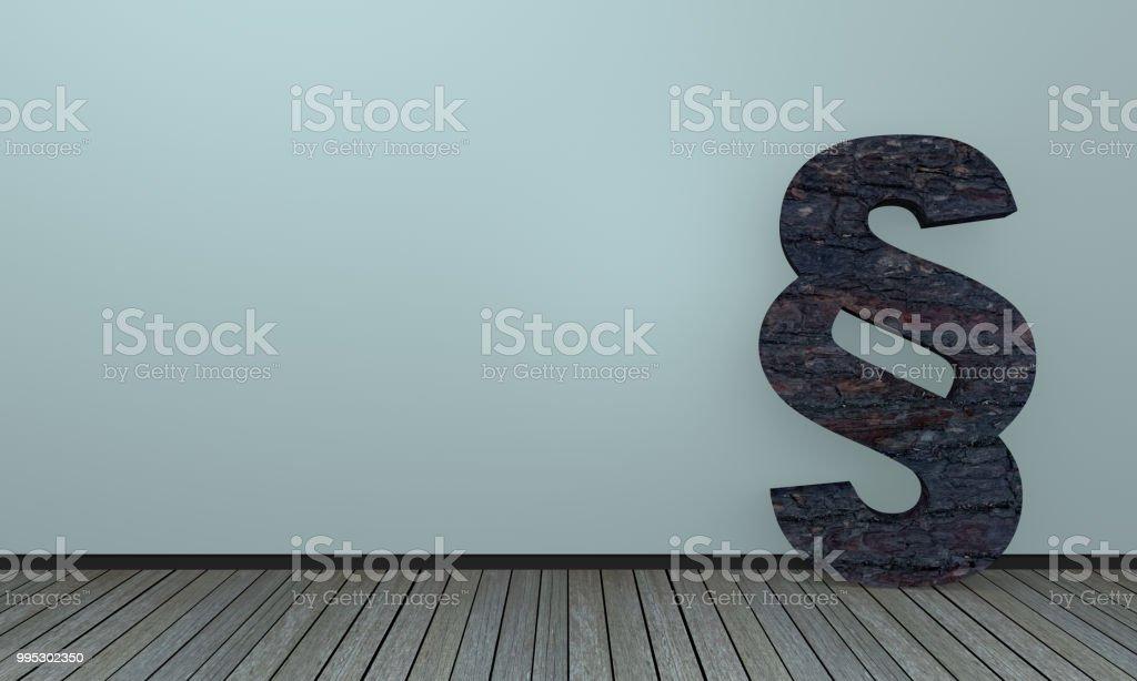 Paragraphenzeichen Im Holzstil Lehnt eine Einer Wand. Hintergrundbild – Foto