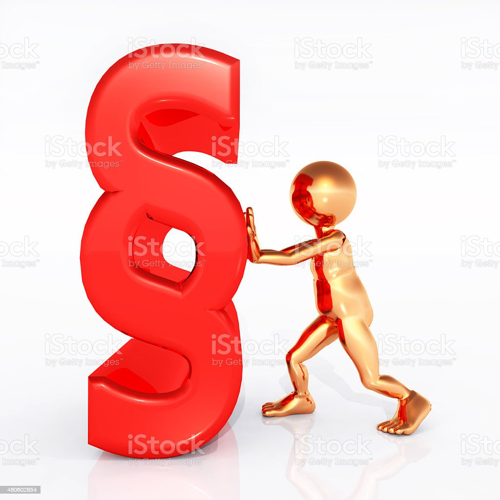 Paragraph sign with figure stock photo