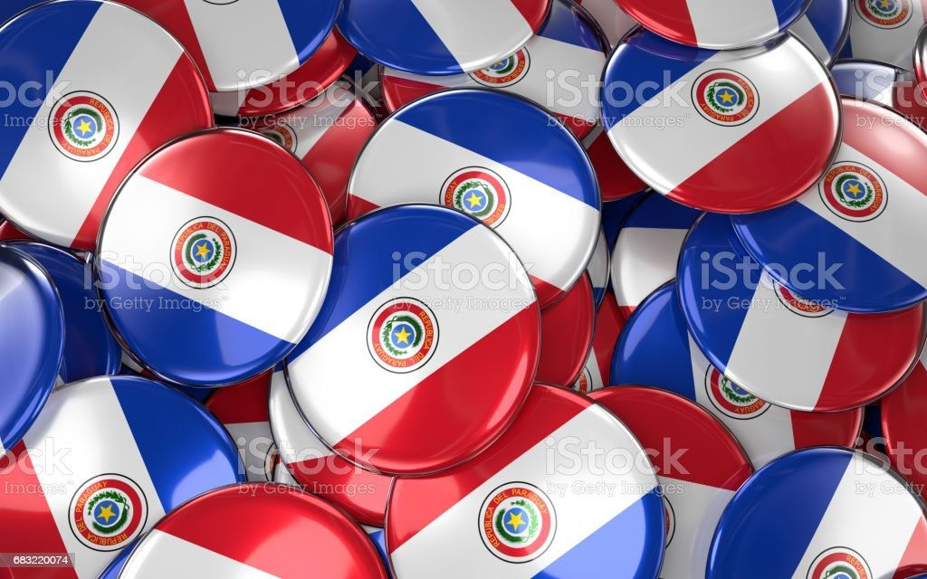 Paraguay Badges Background - Pile of paraguayan Flag Buttons. royalty-free stock photo