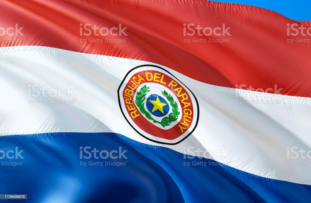 Bandera de Paraguay. diseño de la bandera 3D que agita. El símbolo nacional de Paraguay, renderizado 3D. El símbolo nacional de fondo de pantalla de Paraguay. América del sur bandera 3D cinta, papel pintado, Fondo de patrón