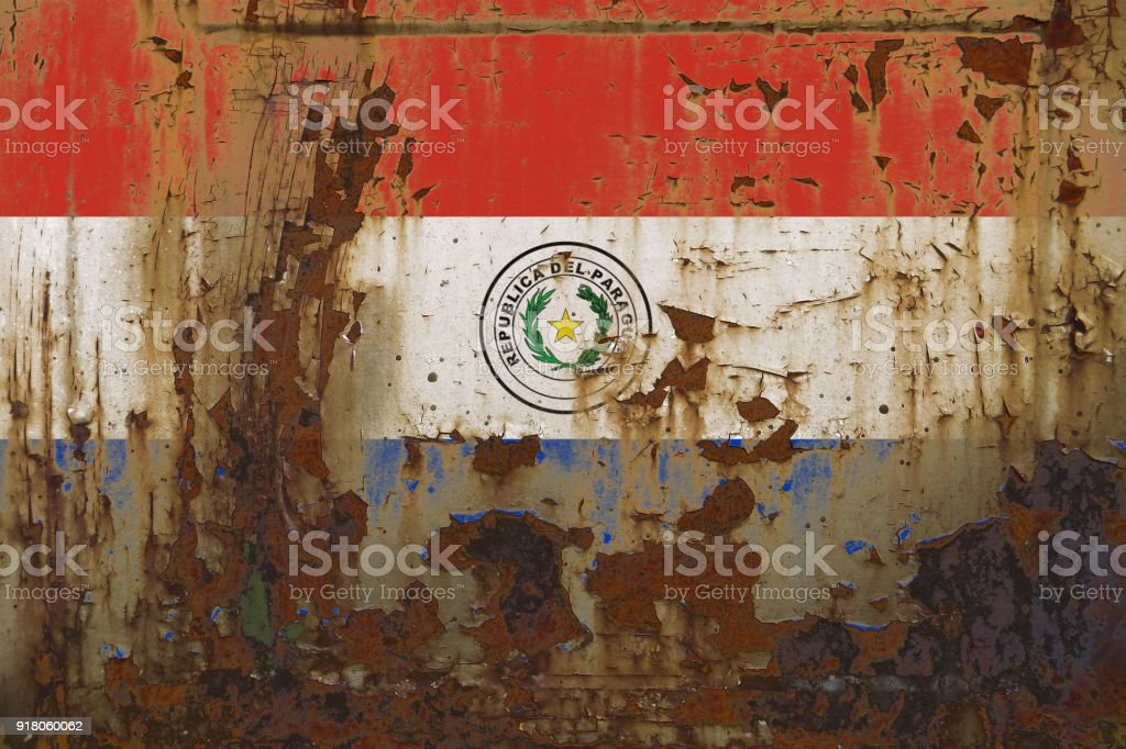 Bandera Paraguay sobre una superficie metálica sucio Grunge oxidado - foto de stock