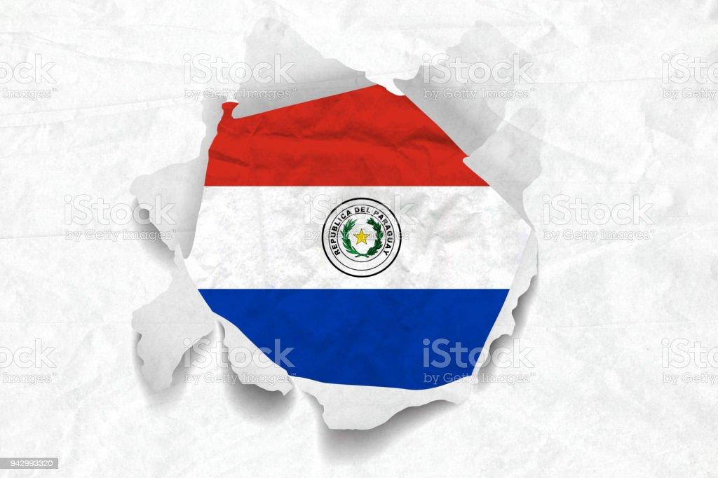 Bandera de Paraguay en un papel de Grunge desmenuzado arrugado pantalón - foto de stock