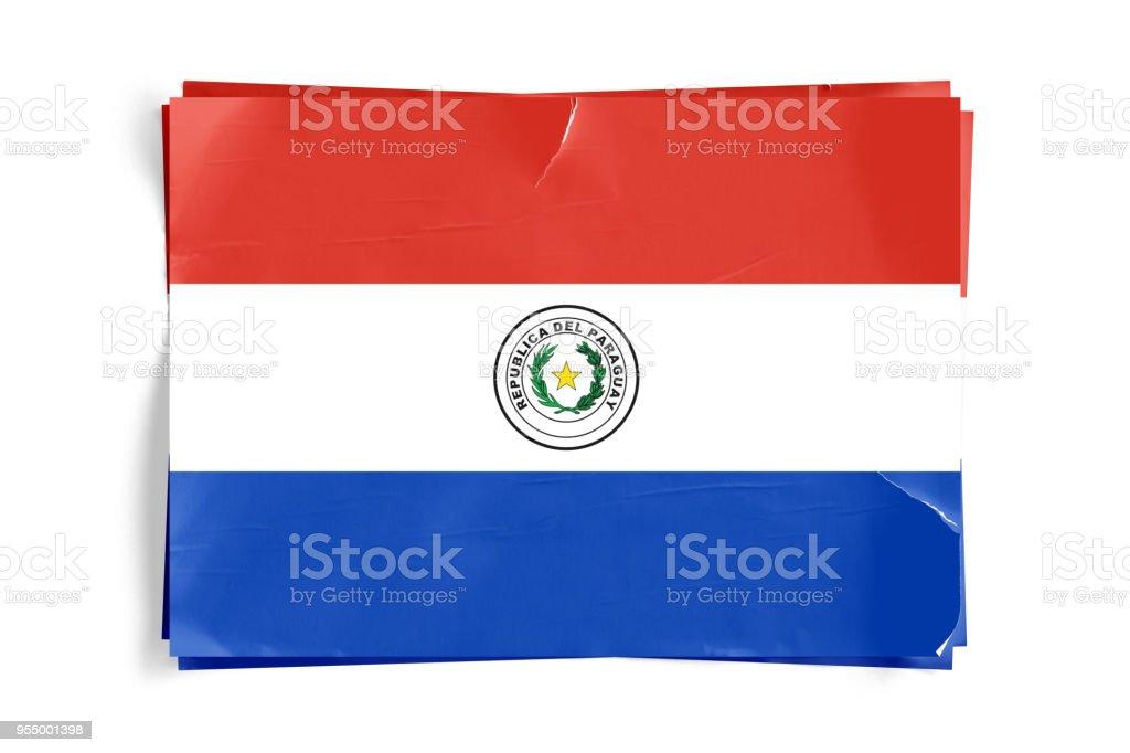 Bandera de Paraguay en los carteles de pantalón arrugado papel desmenuzado - foto de stock