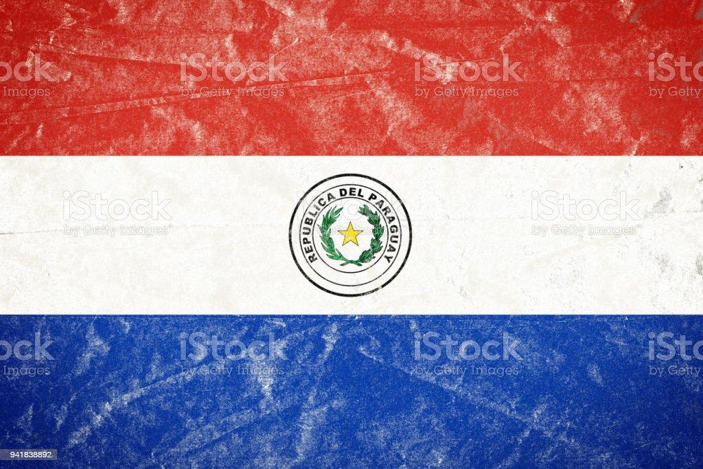 Bandera de Paraguay en Grunge desmenuzado arrugado papel afiche - foto de stock