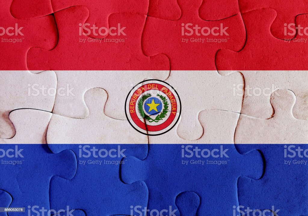 Paraguay flag puzzle stock photo
