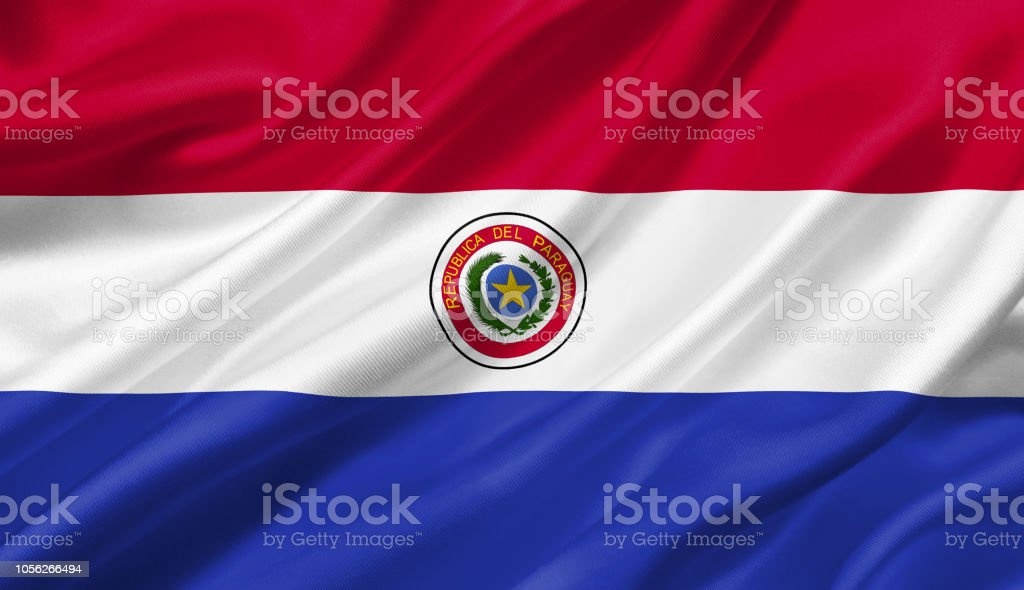 Paraguay flag waving with the wind, 3D illustration. stock photo