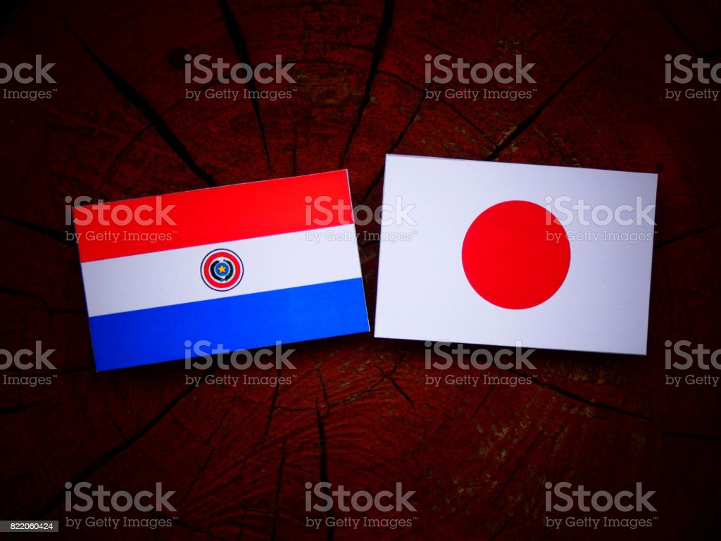 Bandera de Paraguay con una bandera japonesa en un tocón de árbol aislado - foto de stock