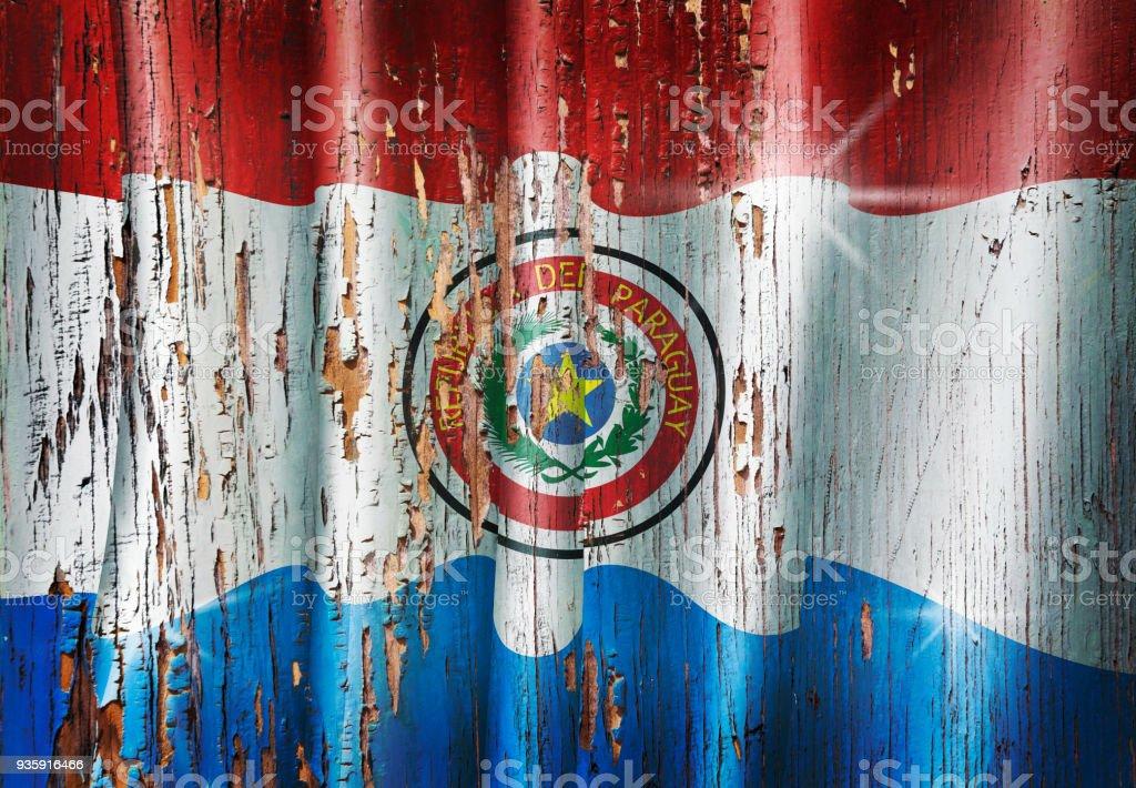 Bandera paraguaya de Paraguay grunge en puerta de madera antigua - foto de stock