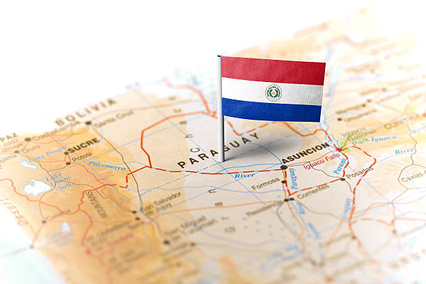 Paraguay pinned on the map with flag stock photo