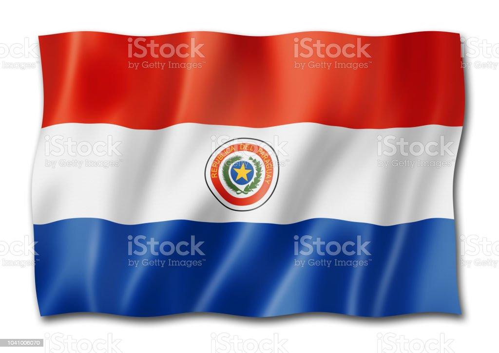 Bandera paraguaya aislado en blanco - foto de stock