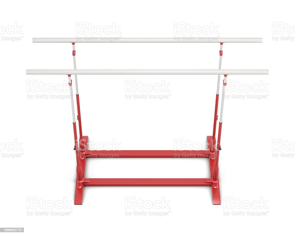 Parallel bars for gymnastics isolated on white background. 3d re royalty-free stock photo