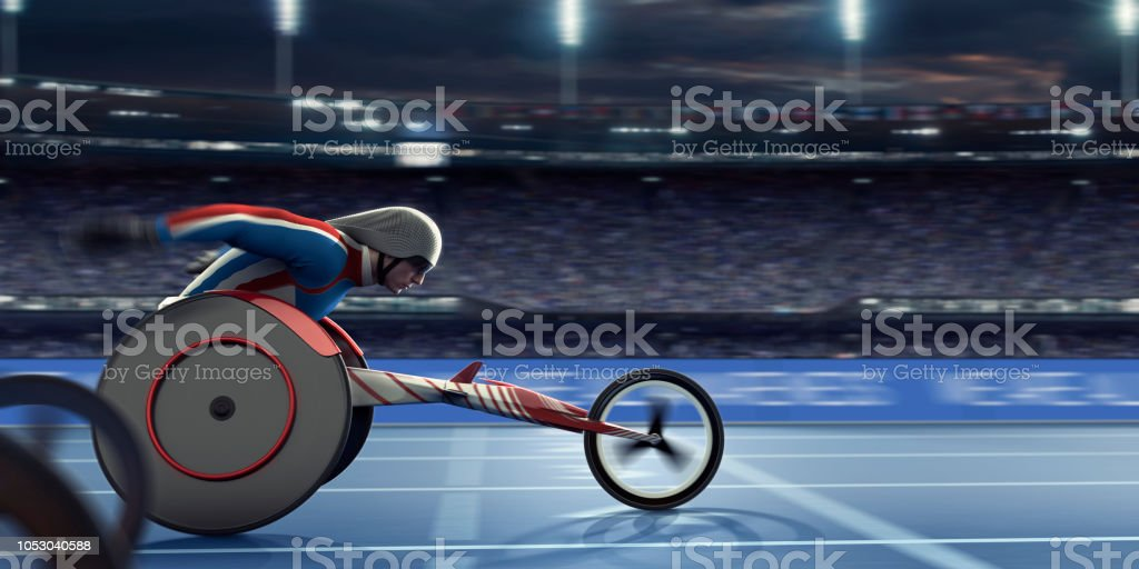Behindertensportler Rollstuhl-Sportler beschleunigt in Richtung Ziellinie Rennen – Foto