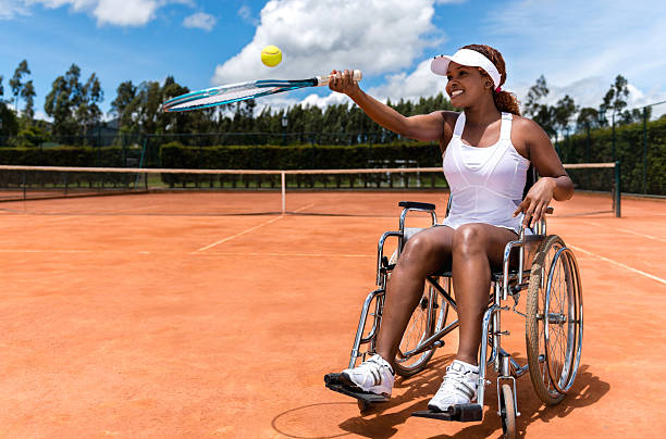 paralympic tennis player - wheelchair sports stock photos and pictures