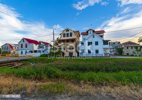 Dutch Colonial Architecture With Littered Canal
