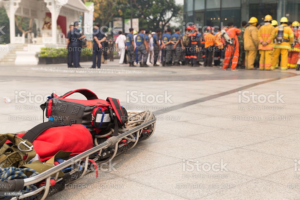 paramedic and stretcher gurney in mock disaster drill stock photo