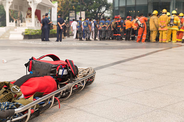 paramedic and stretcher gurney in mock disaster drill - emergency response stock pictures, royalty-free photos & images