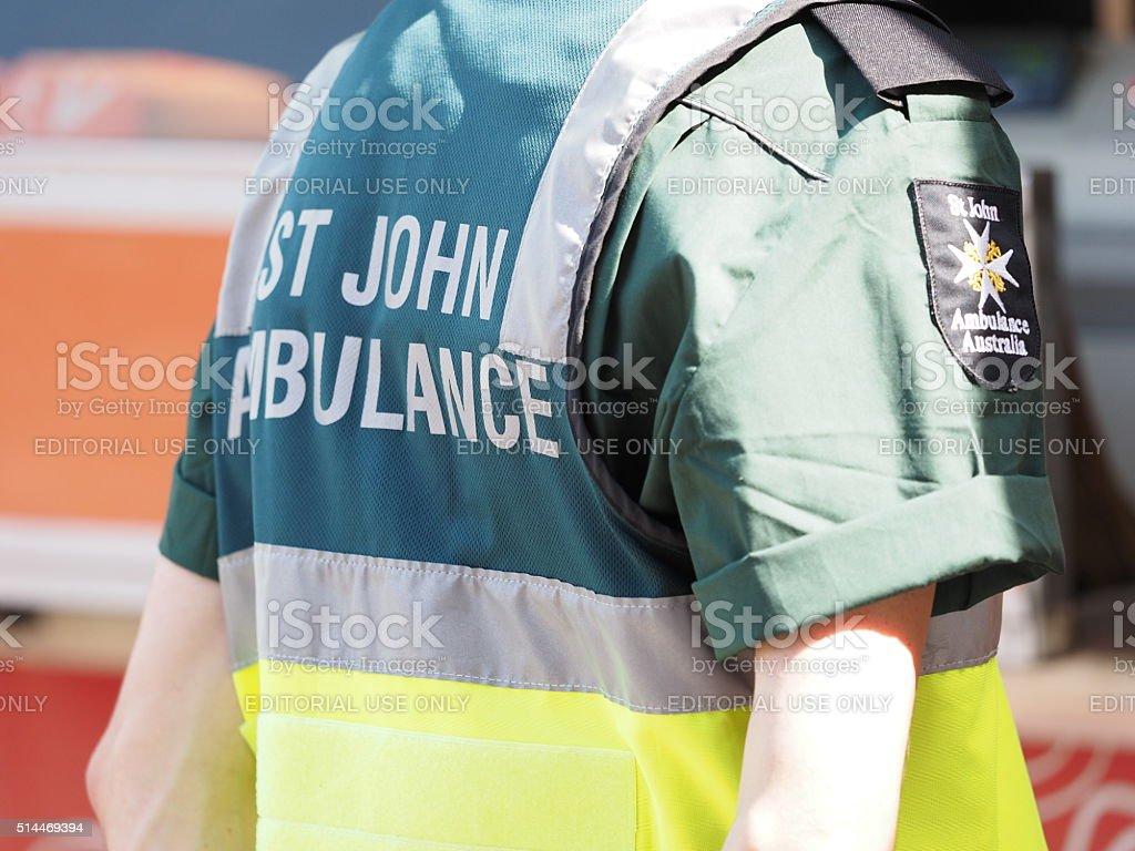 Paramedic attending a public event, uniform detail stock photo