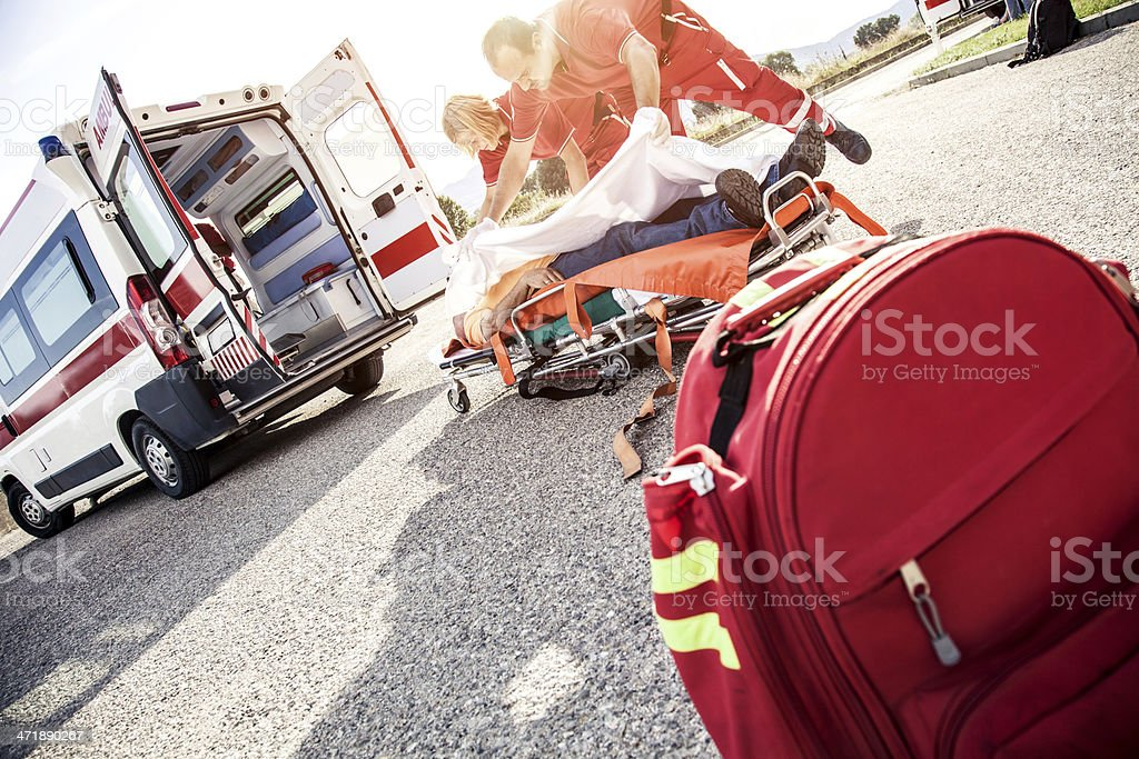 Paramedic, first aid on the street stock photo