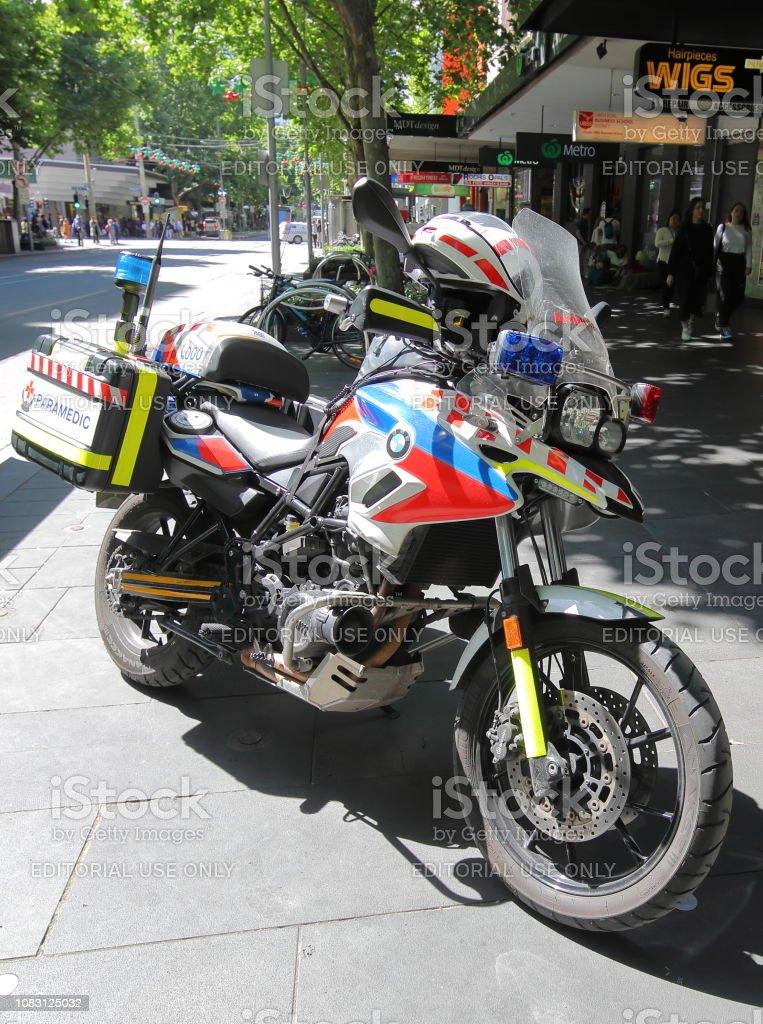 Paramedic motorbike Melbourne Australia stock photo