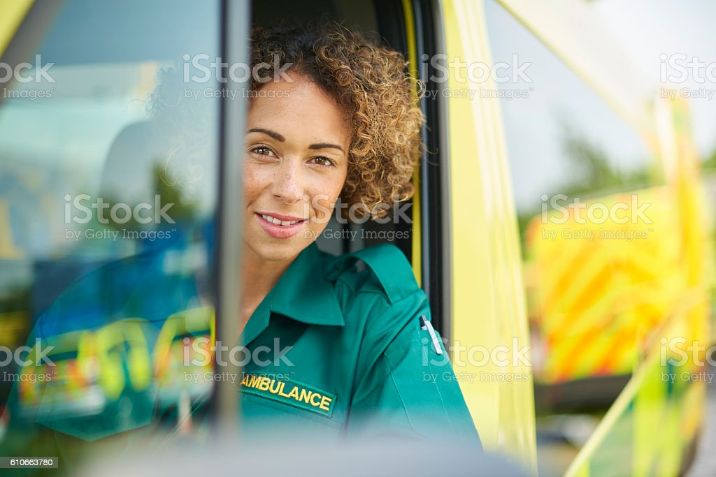 paramedic ready for a call out stock photo