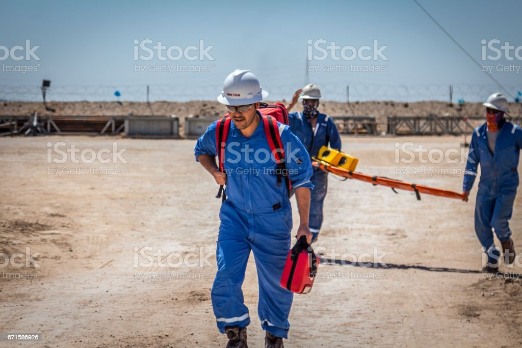 Paramedic rescue service in Oil and Gas Industry stock photo