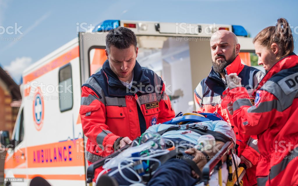 Paramedic Team On Work stock photo