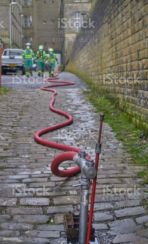 Paramedics at Fire Incident stock photo