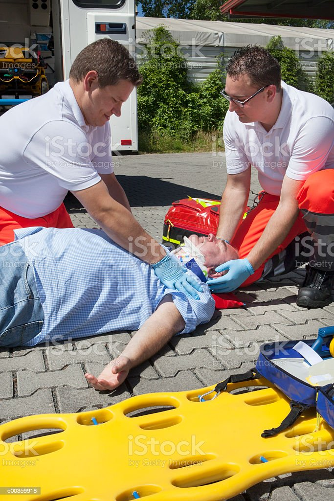 Paramedics medical equipment emergency first aid trauma check stock photo