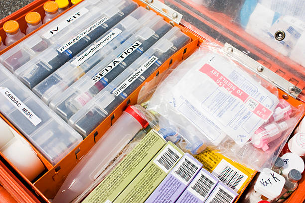 "Paramedic's Medicine Kit ""A fully stocked medicine kit used by air ambulance paramedics. Some subtle humour can be found in one of the labels, adding a hint of realism and personalization."" tranquilizing stock pictures, royalty-free photos & images"