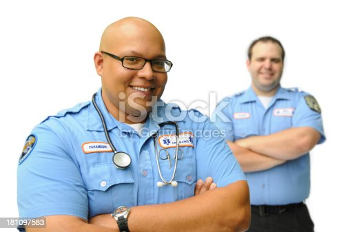 Two paramedic professionals on an isolated background.
