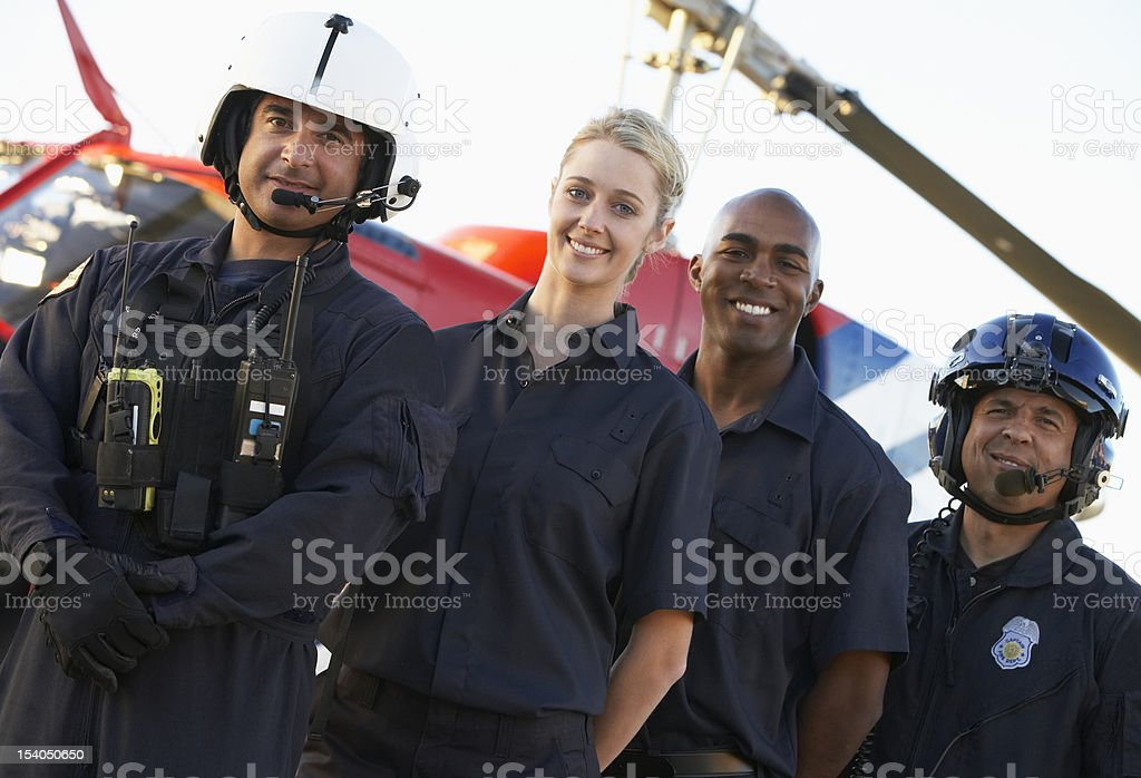 Paramedics standing in front of Medevac stock photo