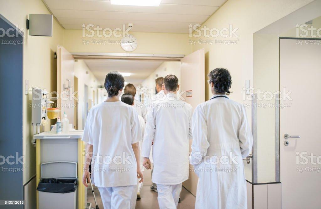 Paramedics walking in hospital corridor stock photo