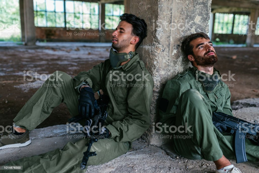 Para-military troopsin Middle East stock photo