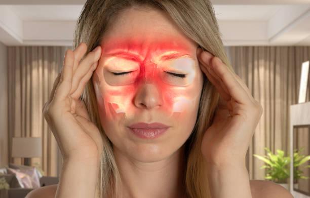neusbijholten sinushoofdpijn - sinusitis- - bijholte stockfoto's en -beelden