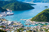 Paranomic view of Picton, New Zealand, View from Tirohanga Track.