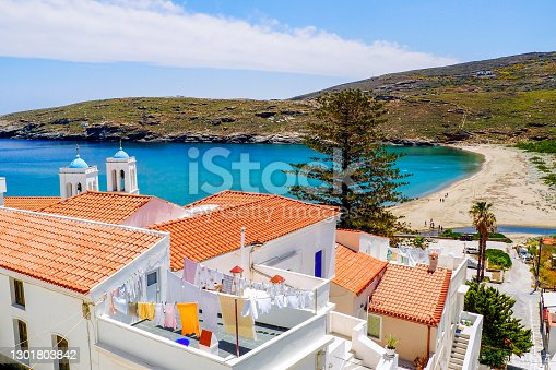 Paraporti beach in the old town of Chora in Andros, famous Cycladic island in the heart of the Aegean Sea.