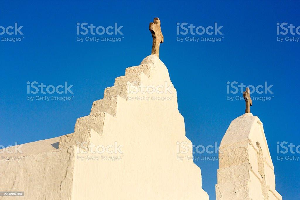 Paraportiani Church in Mykonos, Greece stock photo
