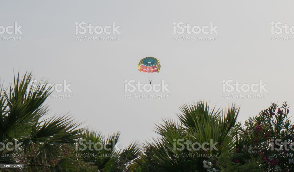 Parasailing in sunny day royalty-free stock photo