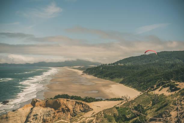 Para-sailing over the Oregon Coast stock photo