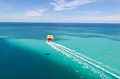 Parasailing in beautiful turquoise water