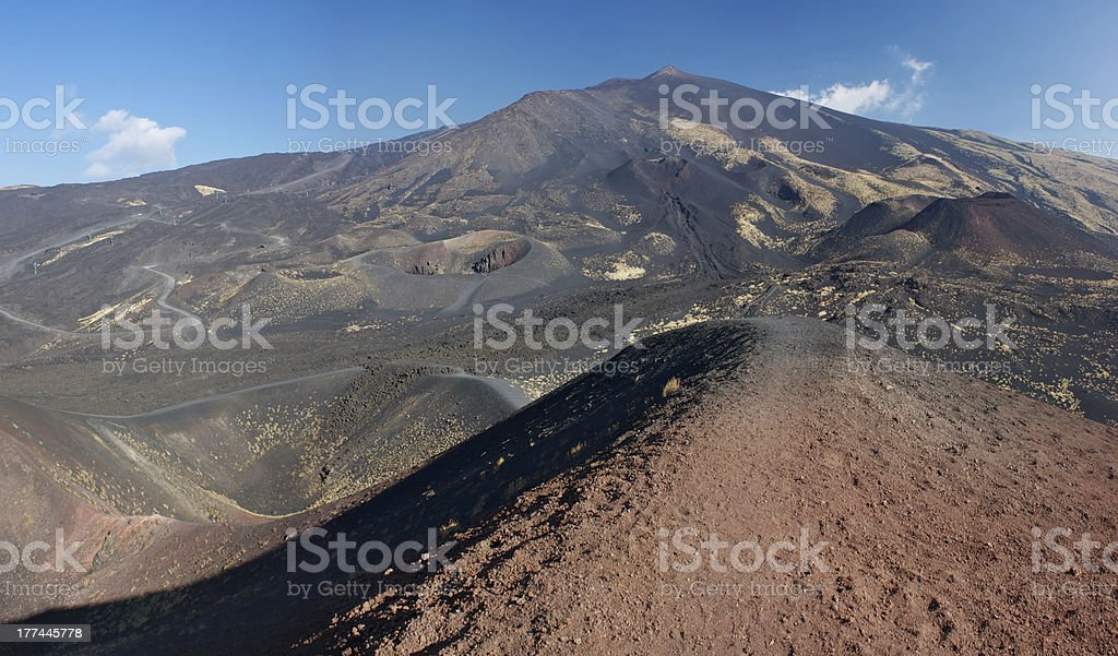 Parasite crater in the Mt. Etna's south side stock photo